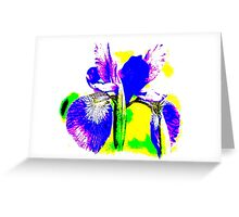 Japanese Iris Pop Art Abstract Greeting Card