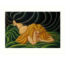 Gold Hair, Green Drape Art Print