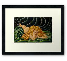 Gold Hair, Green Drape Framed Print