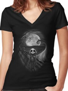 The Scream Before Christmas Women's Fitted V-Neck T-Shirt