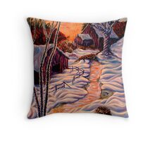 Barns in Snow Throw Pillow