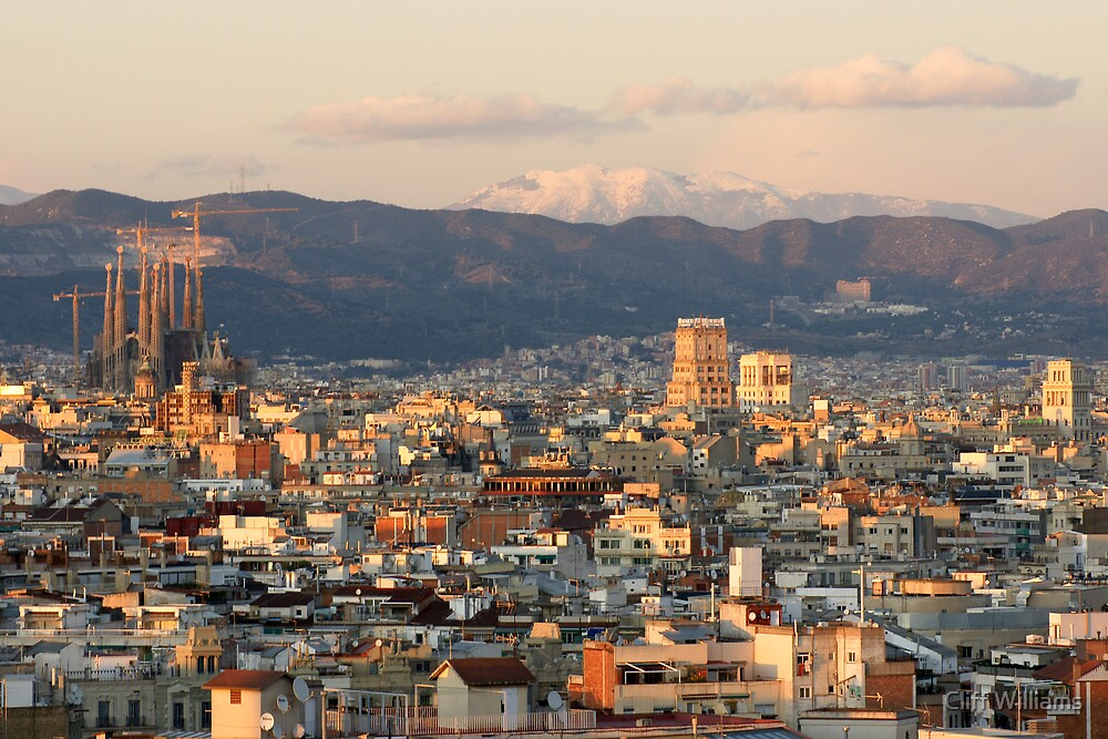 dusk falls on Barcelona by Cliff Williams