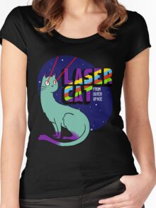 Laser Cat From Outer Space Women's Fitted Scoop T-Shirt