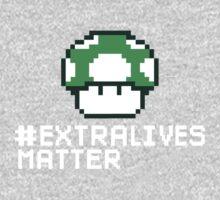 #Extra Lives Matter | Geek Gamer 1Up Mushroom with Slogan One Piece - Short Sleeve