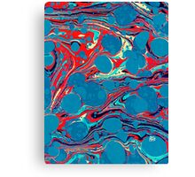 Psychedelic Blue Red Marbled Paper Canvas Print