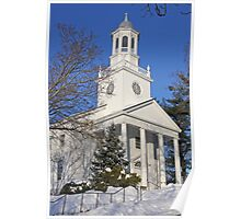 Winter White Small Town Church Poster