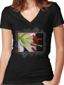 Oriental Lily Hybrid named Mojave Women's Fitted V-Neck T-Shirt