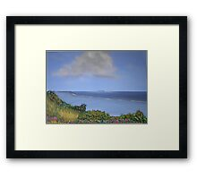 Waterscape from bushy vantage point Framed Print