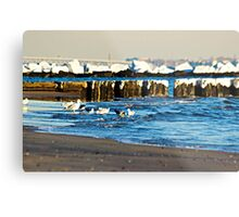 Snow On The Jetty Metal Print