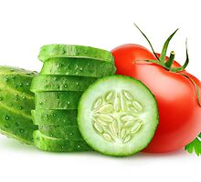 Tomato and slices of cucumber by 6hands