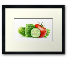 Tomato and slices of cucumber Framed Print