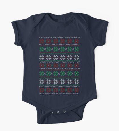 Poinsettia Christmas Sweater One Piece - Short Sleeve