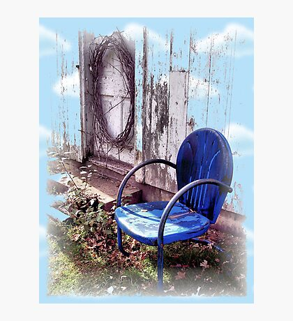 Mother's Old Blue Chair Photographic Print