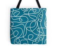 Doodle Line Art | White Lines on Dark Teal Background Tote Bag