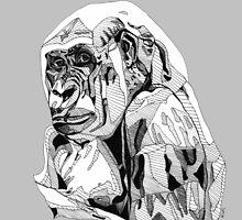 Gorilla Black Tonal Fineliner Drawing by Rebekah Melville