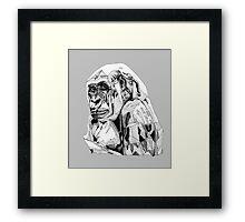 Gorilla Black Tonal Fineliner Drawing Framed Print