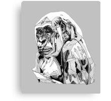 Gorilla Black Tonal Fineliner Drawing Canvas Print