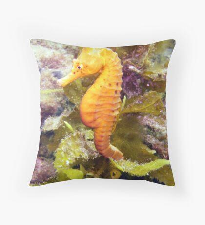 Yellow Seahorse Throw Pillow