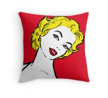 Drawing beautiful pop girl in the foreground. Throw Pillow
