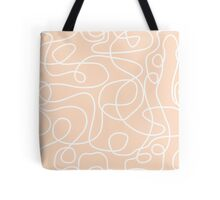 Doodle Line Art | White Lines on Peach Background Tote Bag