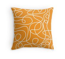 Doodle Line Art | White Lines on Orange Background Throw Pillow