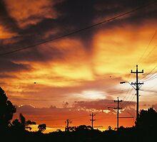 Firey Sunset Streetscape by Sandra Albin
