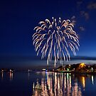 Fireworks over the Lake by Debbie  Maglothin