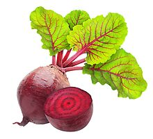 Cut beetroot with leaves by 6hands