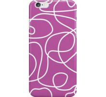 Doodle Line Art | White Lines on Pinky Purple Background iPhone Case/Skin