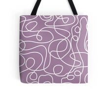 Doodle Line Art | White Lines on Soft Purple Background Tote Bag