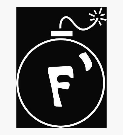 F Bomb in White Photographic Print