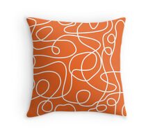 Doodle Line Art | White Lines on Persimmon Background Throw Pillow
