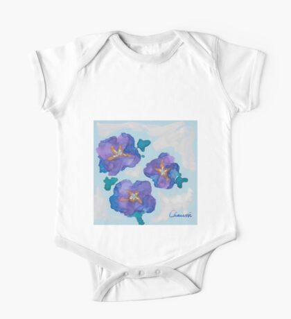 Blue Romance ~ Romantic Watercolor Painting by CHAUSSE Genevieve One Piece - Short Sleeve