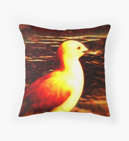 Blue Gull - Digital change Throw Pillow