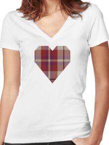 00316 Shiel, Claret (Dance) Tartan  Women's Fitted V-Neck T-Shirt
