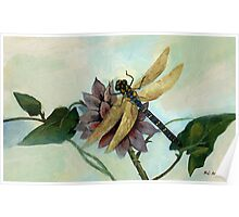 Dahlia with Dragonfly Resting Poster