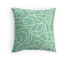 Doodle Line Art | White Lines on Bright Green Background Throw Pillow