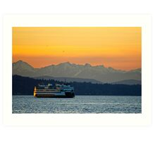 Sunset over Olympic Mountains Art Print