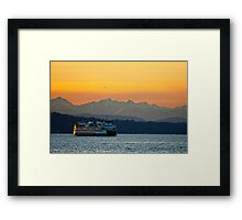 Sunset over Olympic Mountains Framed Print