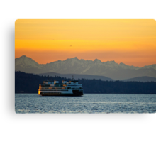 Sunset over Olympic Mountains Canvas Print