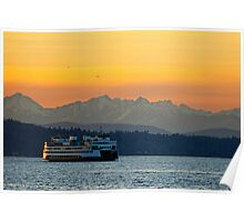 Sunset over Olympic Mountains Poster