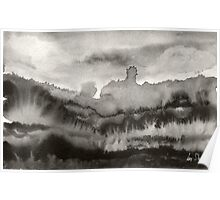 Abstract Landscape (Mono) Poster