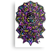 Eye of God Flower Mandala Neon Metal Print