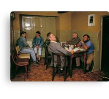 Cider drinkers, Somerset, England, 1980s Canvas Print