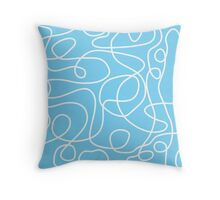 Doodle Line Art | White Lines on Sky Blue Background Throw Pillow