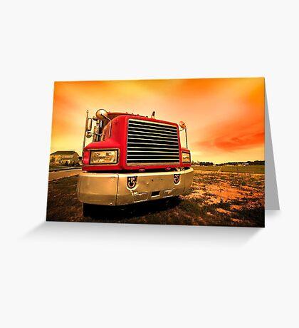 red semi truck Greeting Card