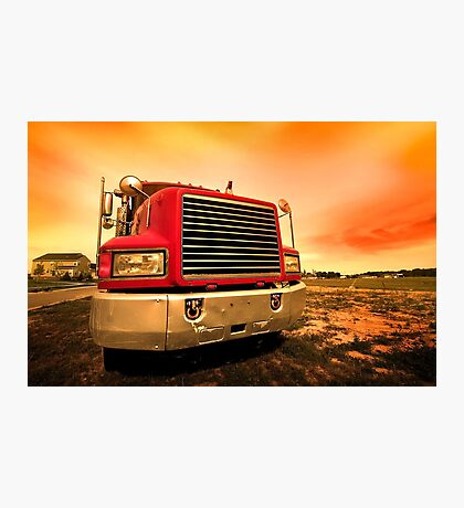 red semi truck Photographic Print