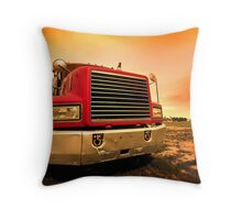 red semi truck Throw Pillow