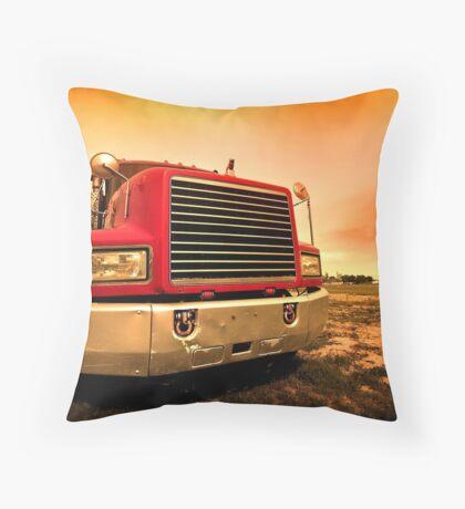 red semi truck Throw Pillow