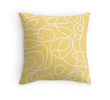 Doodle Line Art | White Lines on Yellow Background Throw Pillow